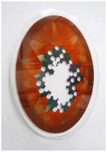 "Jan Albers ""perfOrierteswOOlegghalluzinOgenpOrtal"", 2011, Wolle und Sprühfarbeauf Holz, 191 x 136 x 12 cm, JaLiMa Collection,Photo© VAN HORN & Jan Albers"