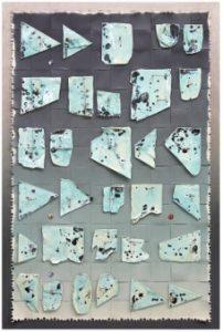 "Jan Albers ""OhnOOceanthirtyOne"", 2012, Sprühfarbe, Keramik & Buttons aufPapier, 171 x 110 x 13 cm,Photo© & Courtesy der Künstler &  VAN HORN,Düsseldorf"