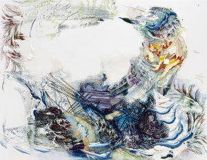 Pia Fries, vessel, 2012Ölfarbe und Siebdruck auf Holz, 84 x 110 cm, Courtesy Galerie Ute Parduhn, Düsseldorf, © VG Bild-Kunst Bonn 2019, Fotograf: Hans Brändli