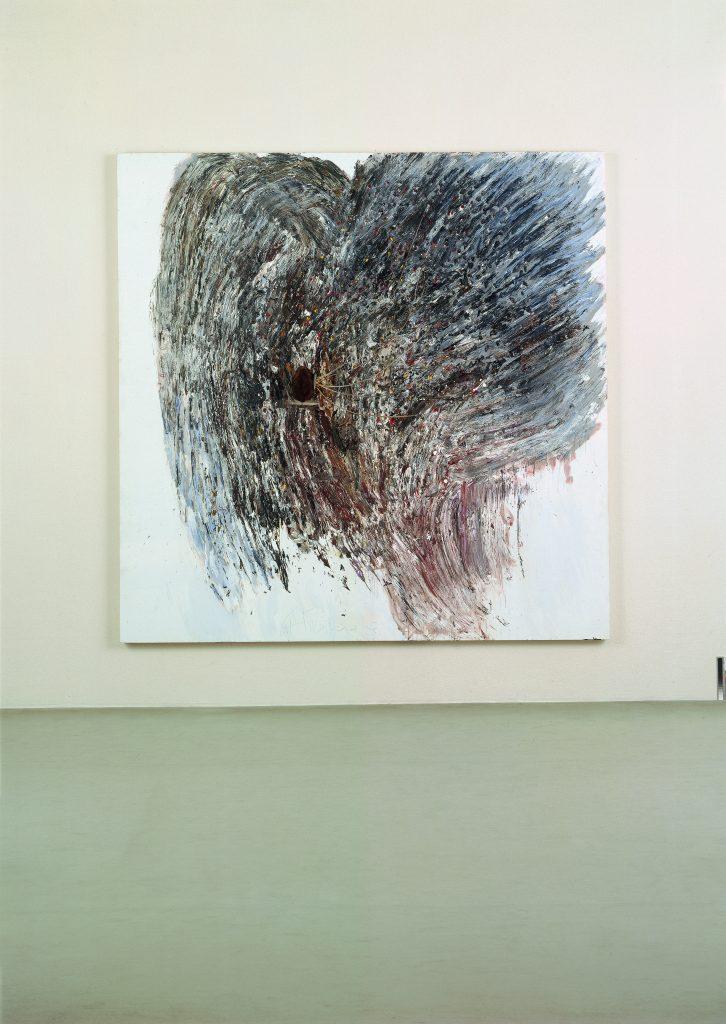 Gerhard Hoehme, Typhon, 1983, 250x250x15 cm, Acrylfarben auf Leinen, Stein auf Plexiglas, Polyäthylenschnüre © VG Bild-Kunst, Bonn 2014