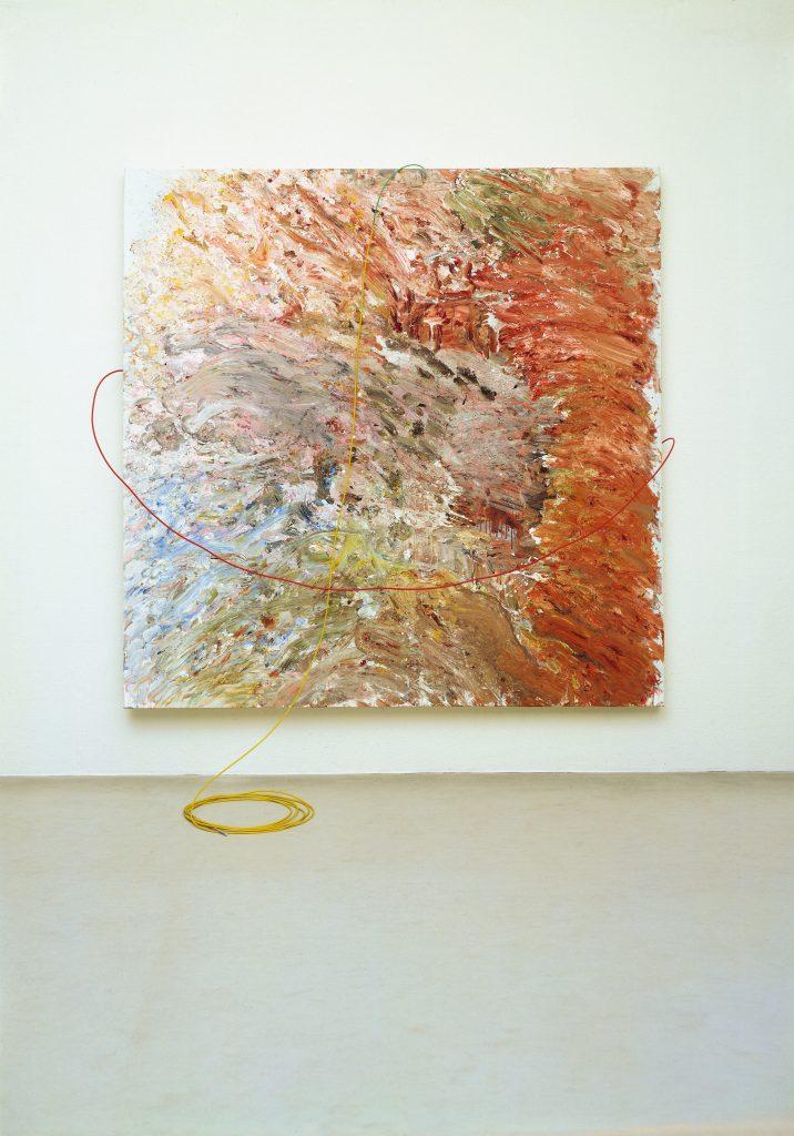 Gerhard Hoehme, aus farbigverkrallten Farben, 1982, 250x250 cm, Acrylfarben auf Leinen, Polyäthylenschnüre © VG Bild-Kunst, Bonn 2014