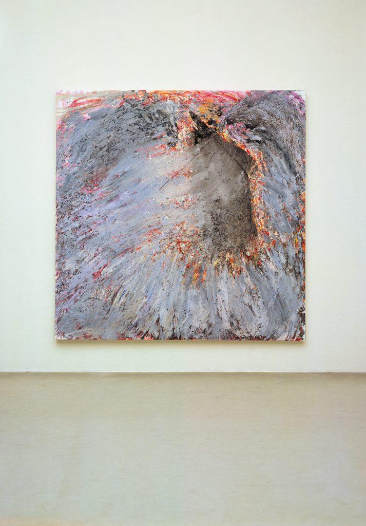 Gerhard Hoehme, der Tod des Empedokles, 1984, 250x250x10 cm, Acrylfarben auf Leinen, PVC-Fühler © VG Bild-Kunst, Bonn 2014